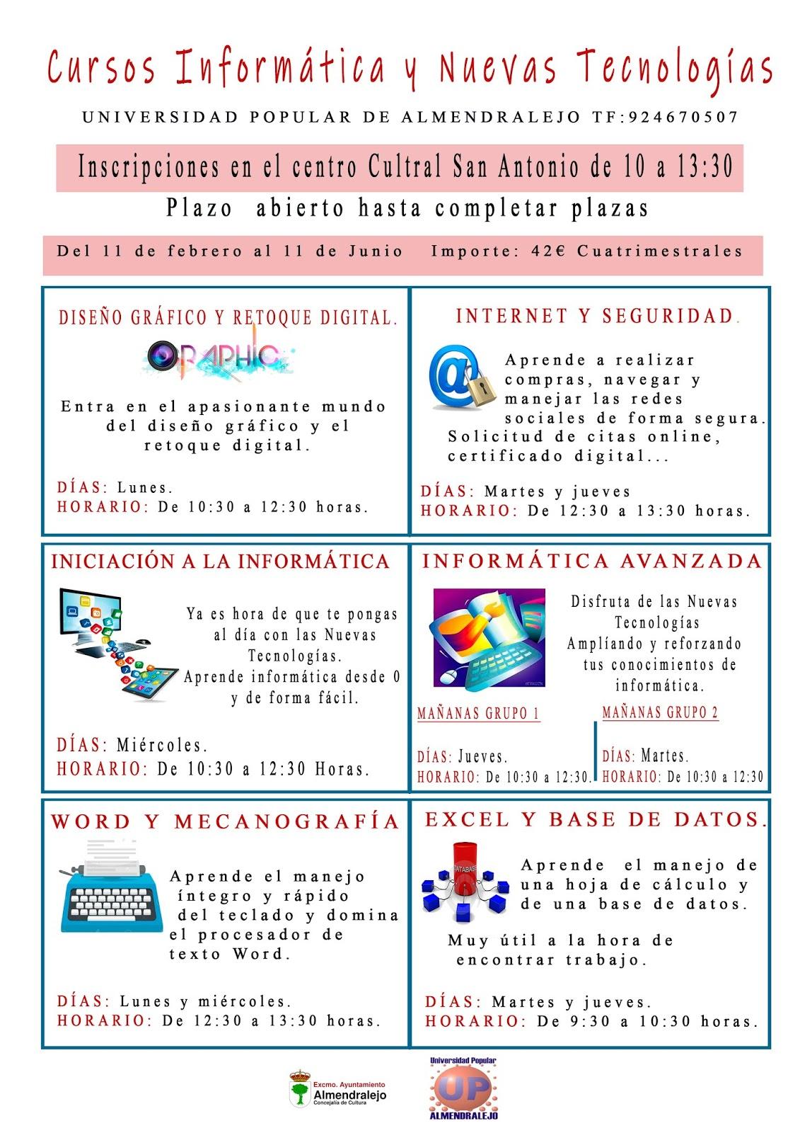 Cursos De Informatica De La Universidad Popular Universidad Popular Almendralejo