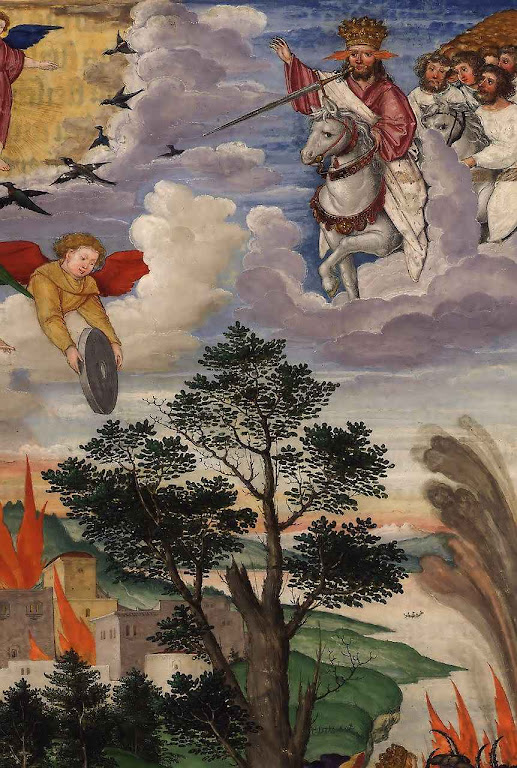 Vinda de Cristo em pompa e majestade. Ottheinrich-Bibel, Bayerische Staatsbibliothek, Cgm 8010.