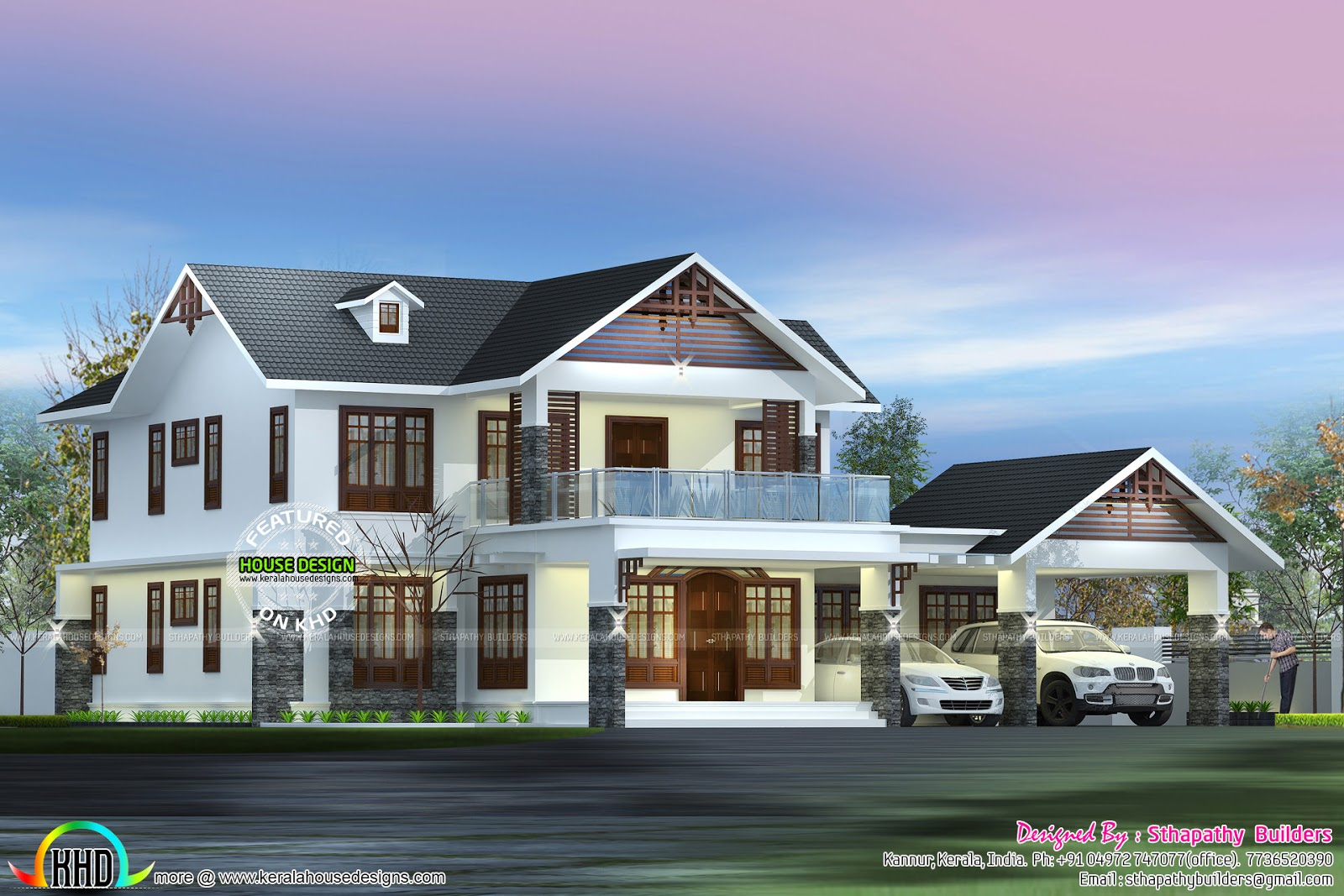Kerala home design and floor plans for 5 bhk house