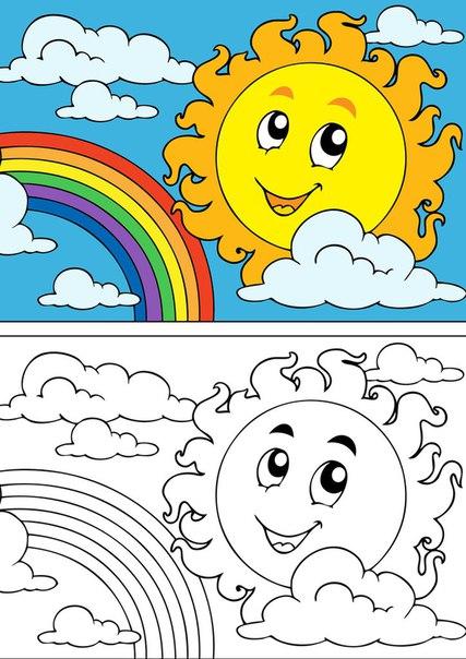 Desenho De Sol E Arco Iris Para Colorir Como Fazer