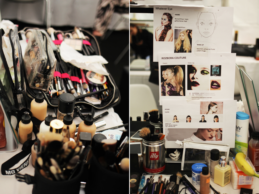 collage backstage fashion show wien