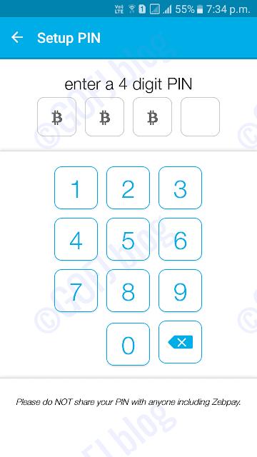 Zebpay wallet PIN setup
