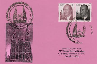 Tarjeta del matasellos del centenario dela iglesia de Santo Tomás de Canterbury. Avilés,