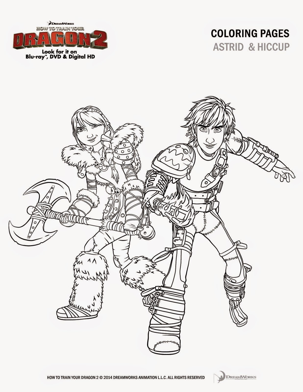 Astrid and Hiccup coloring page