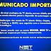 NET comunica aos clientes que poderá ficar sem Record, RedeTV! e SBT