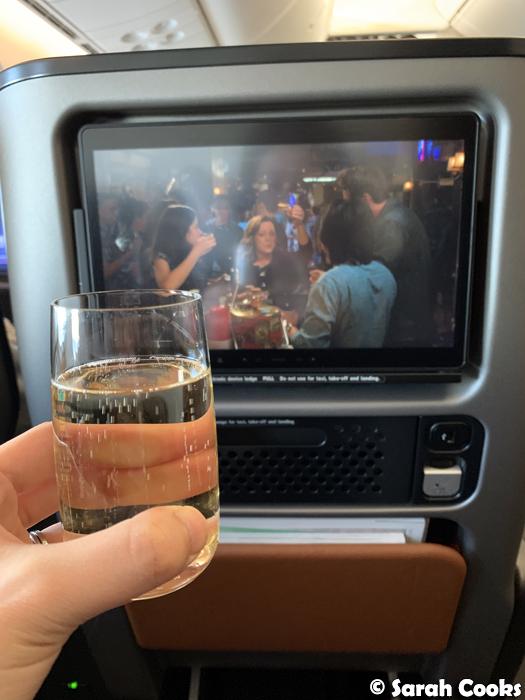 Champagne glass in Qantas Dreamliner 787 Premium Economy Cabin