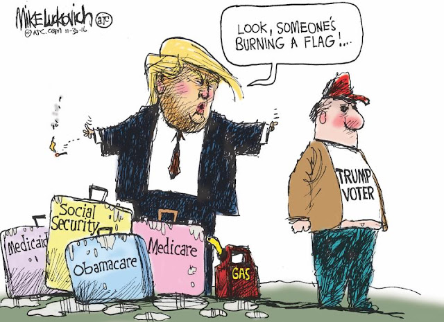 Donald Trump, standing amidst bags labeled