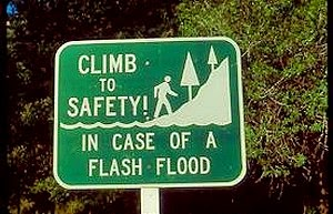 Climb to safety sign
