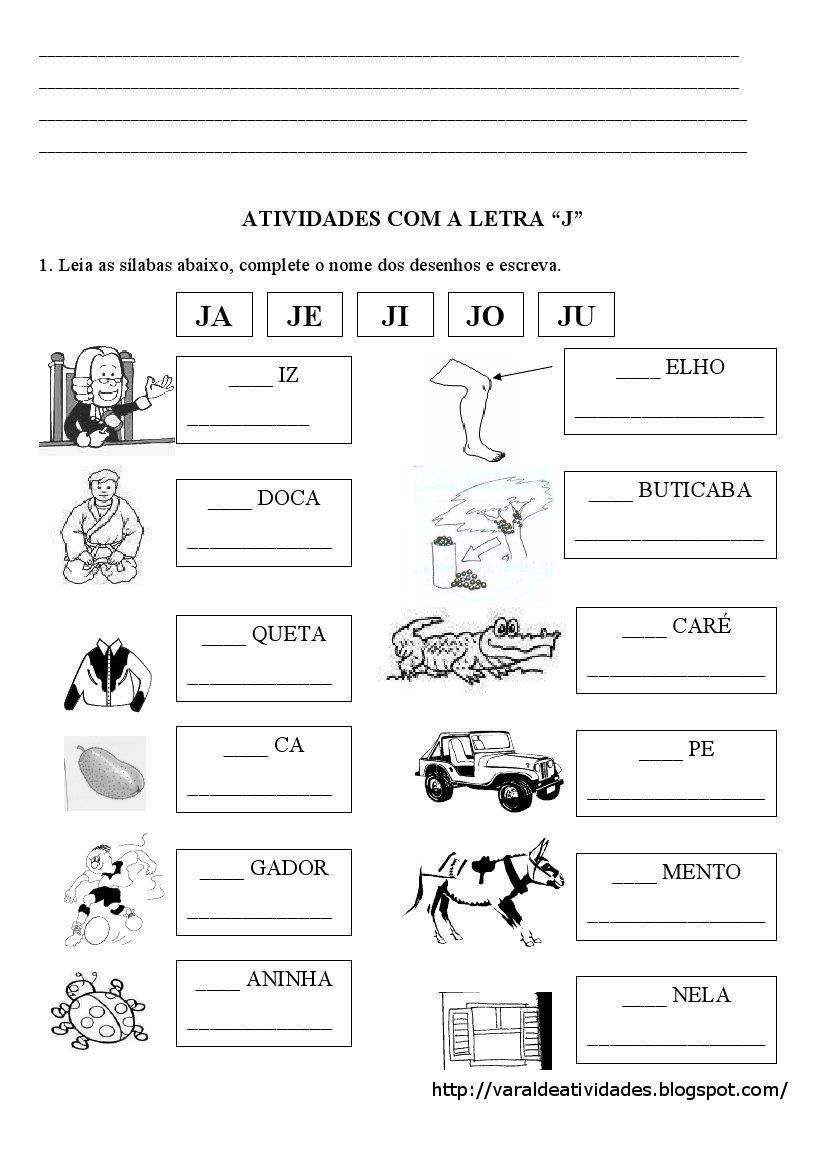 Super Cartilhas e atividades fundamental 1 e 2: ATIVIDADES LETRA J DB55