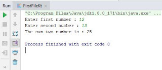 Kotlin program to add two numbers - output