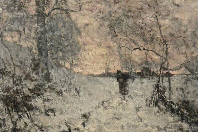 Bruxelles : musée Fin du siècle Guillaume Vogels, peintre belge : la neige, le soir