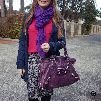 awayfromtheblue instagram | blue pink pencil skirt business casual spring office outfit purple accessories