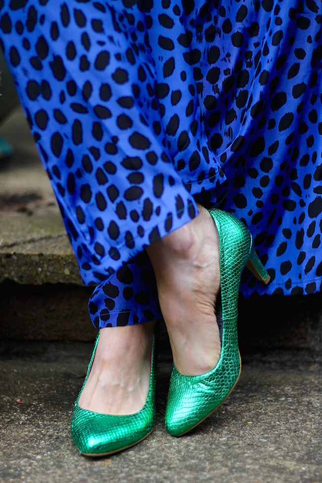 Fake Fabulous | Electric blue jumpsuit and  green shoes.