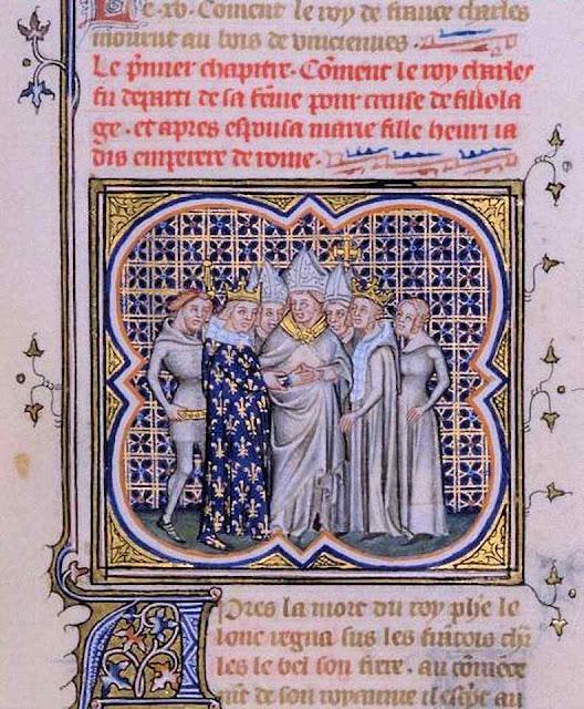 Casamento de Carlos IV e Maria de Luxemburgo. Grandes Chroniques de France. BNF.