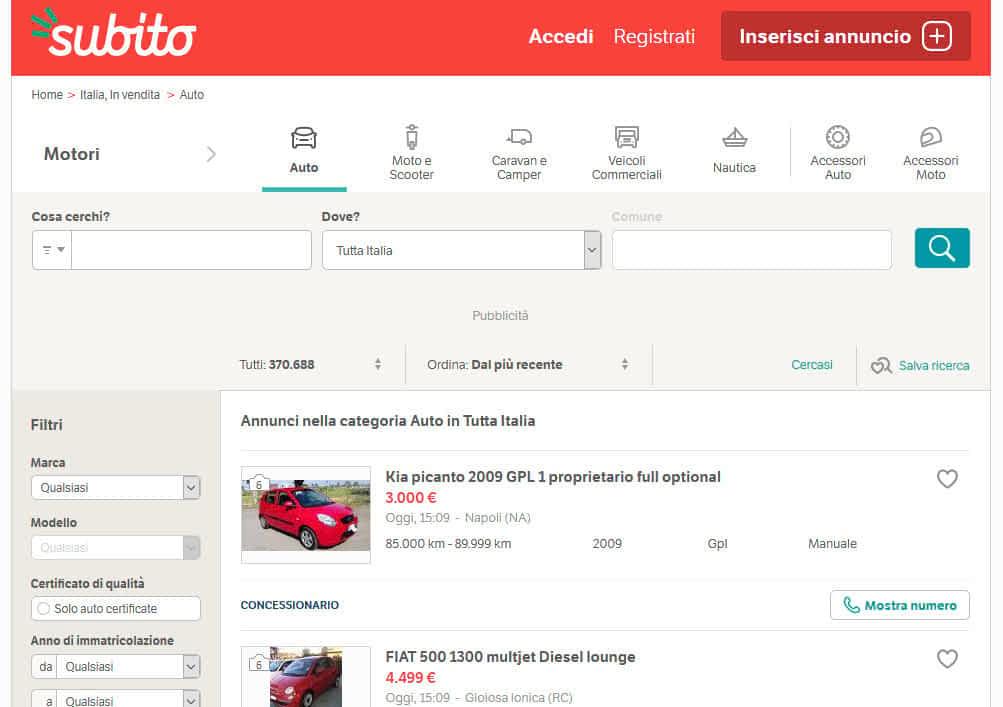 Acquisto auto usate online su Subito
