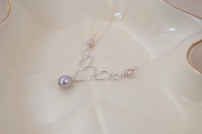 handmade pearl necklace mauve light purple pearls geometric soldered sterling silver statement minimalist pendant