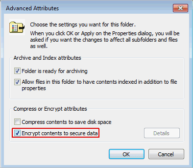 encrypting file system advanced attributes