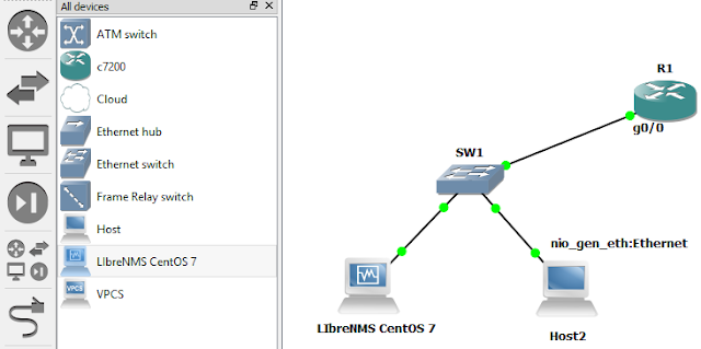 How to connect a Cisco Router in GNS3 to LibreNMS in virtual