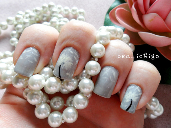 Idea about dandelion nail art 2016 fashion newbys revel in gray and white color combination with this beautiful dandelion nail art coat your nails in gray base colors and add a striking tint of black for prinsesfo Choice Image
