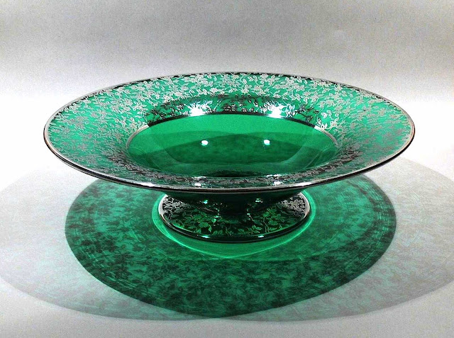 Steuben glass vintage green and silver