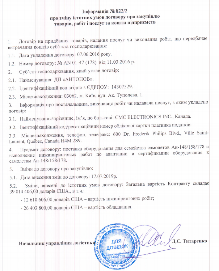 Антонов відновив контракт з закупівлі обладнання у Канаді