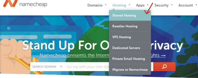 How to set up a shared hosting on namecheap