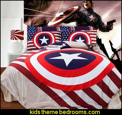 Captain America bedding Superheroes bedroom ideas - batman - spiderman - superman decor - Captain America - comic book bedding - batmobile bed - Wonder Woman Girls superhero - marvel wall art Avengers - superman bedding - primary color bedroom ideas - spiderman room decor - decorating with comics -