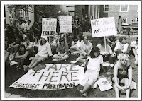 Photographs of Dartmouth student protestors from the 1980s with signs and posters related to women's issues on campus