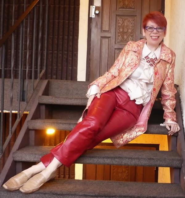 5f7c76225f2d5f Ephemera: Groovy Baby! Red Leather Pants and Shiny-Shiny Brocade