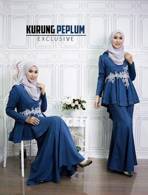 Baju Kurung Peplum Exclusive Raya 2017 warna Teal