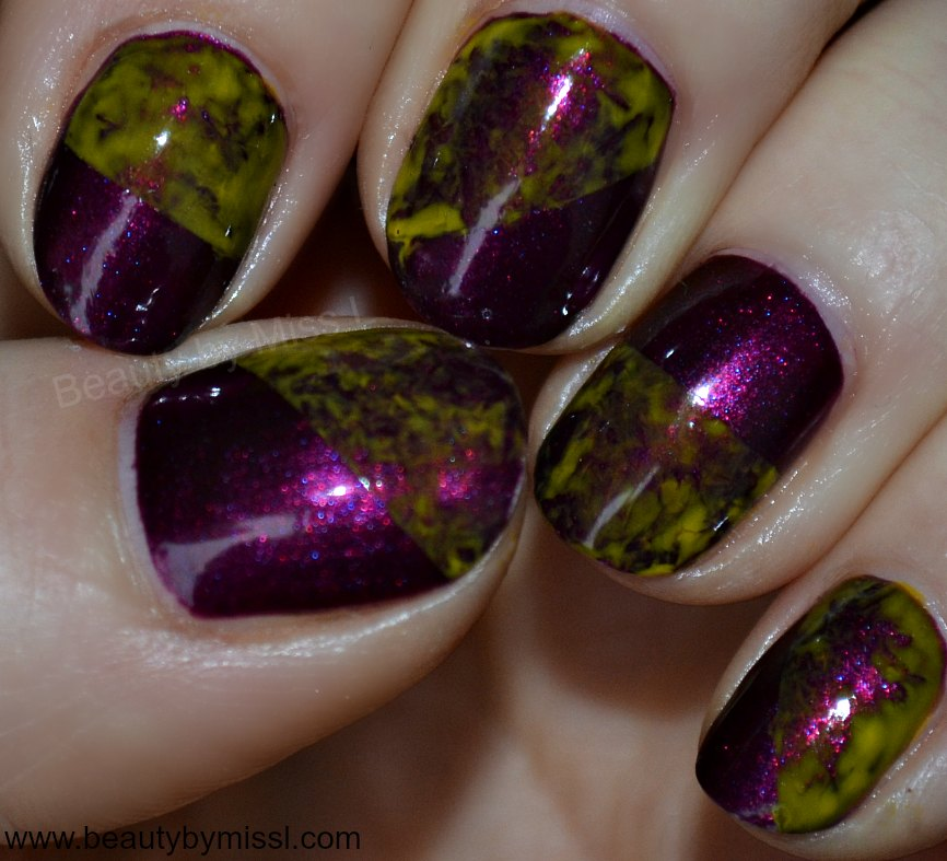 purple yellow plastic wrap manicure