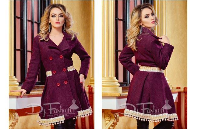 Palton dama elegant bordo de calitate de iarna online