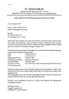 Contoh Surat (SK) Pengangkatan Pegawai Karyawan tetap baru perusahaan swasta