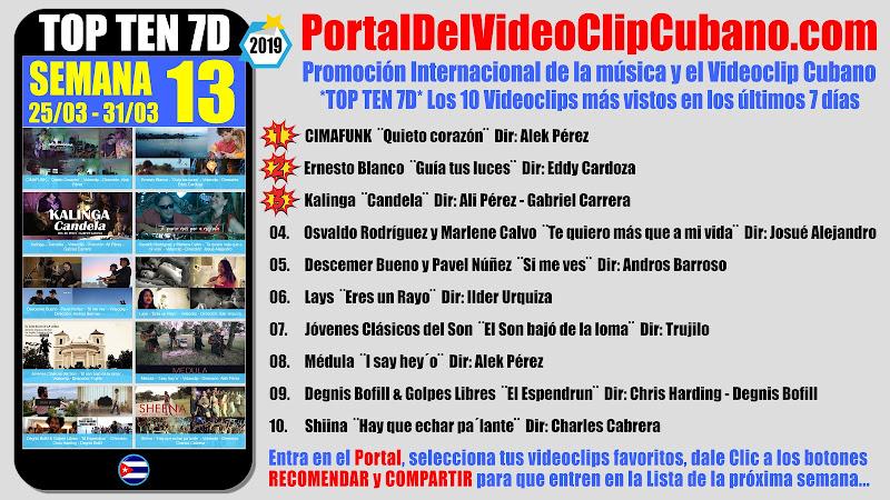 Artistas ganadores del * TOP TEN 7D * con los 10 Videoclips más vistos en la semana 13 (25/03 a 31/03 de 2019) en el Portal Del Vídeo Clip Cubano