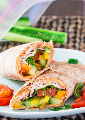 Turkey Hummus and Veggie Wrap Under 500 Calories #healthywraprecipe