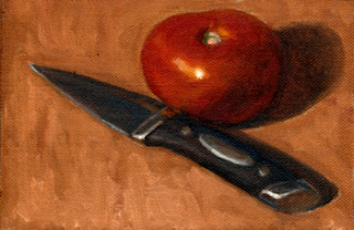 Oil painting of a red tomato beside a paring knife with a black handle.