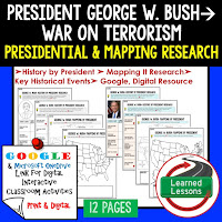 President George W. Bush, American History Research Graphic Organizers, American History Map Activities, American History Digital Interactive Notebook, American History Presidential Research, American History Summer School