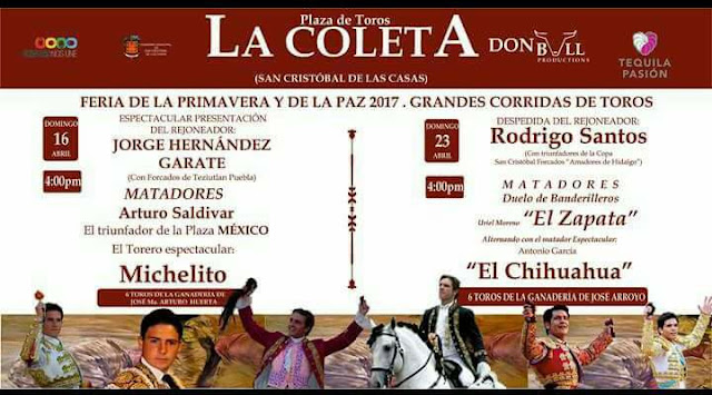 corridas de toros feria san cristobal de las casas 2017