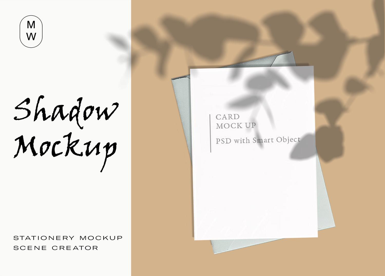 Stationery Card Envelope Shadow Mockup