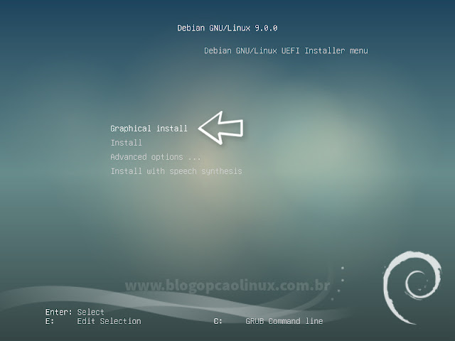 "Tela de boot UEFI do Debian 9 ""Stretch"""