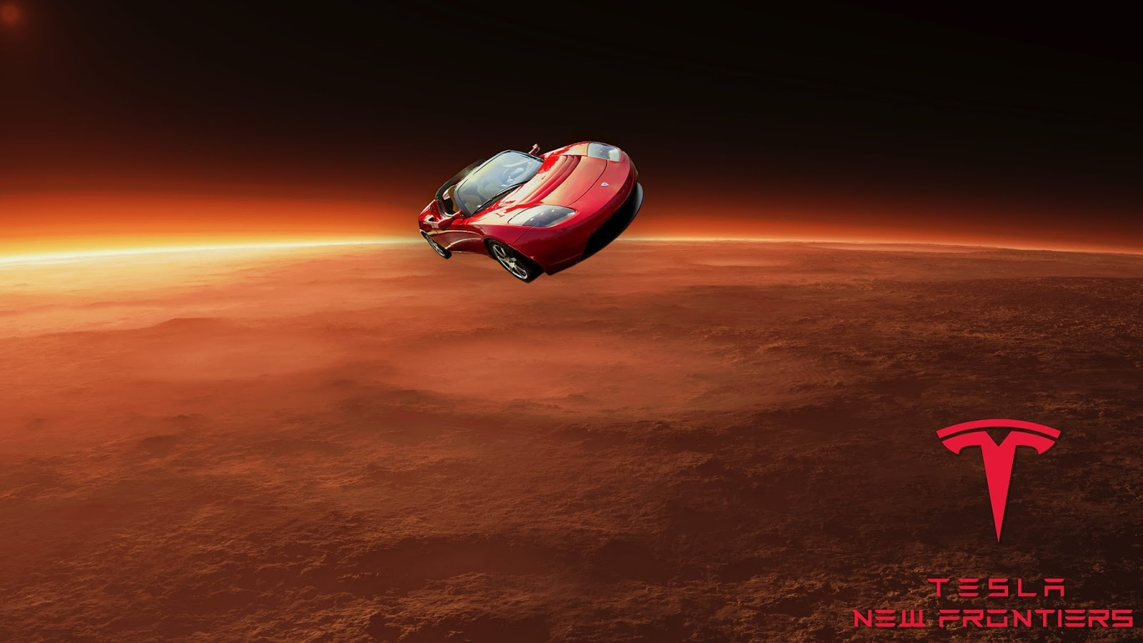 SpaceX Tesla Roadster traveling to Mars