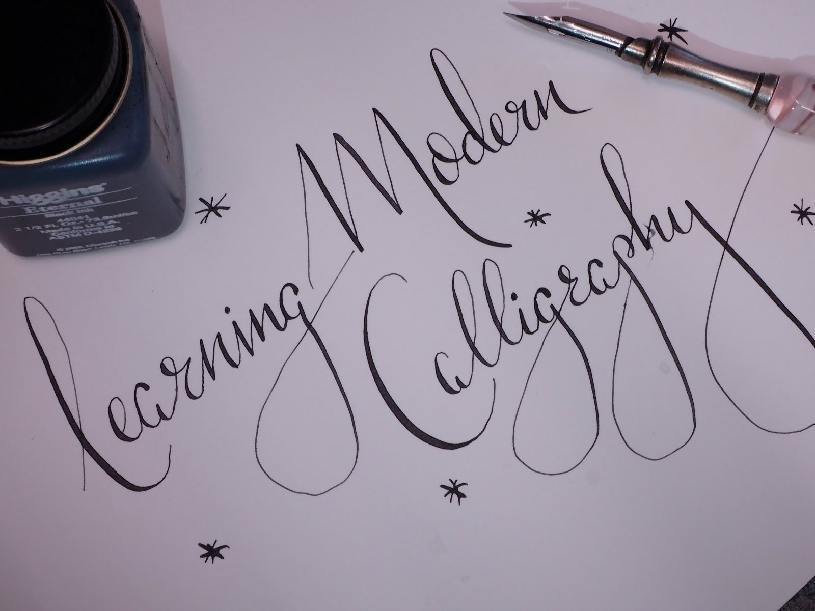 How to learn modern calligraphy with Lamplighter London courses and nib and ink book