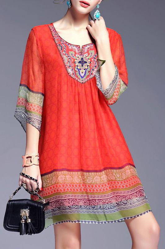 A| Chicloth Red Midi Dress A-line Daytime Boho Tribal Dress