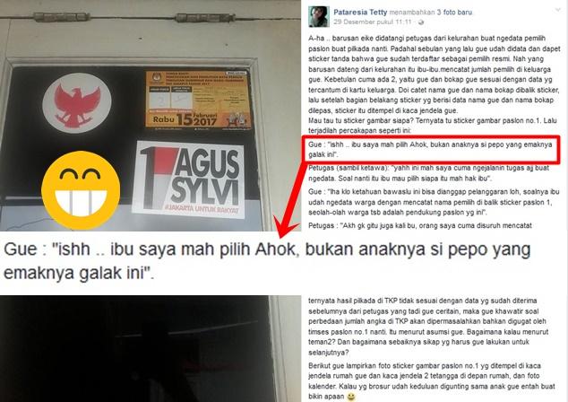 Statusnya Viral di Facebook, Pendukung Ahok ini Protes Rumahnya Ditempeli Stiker Agus-Sylvi
