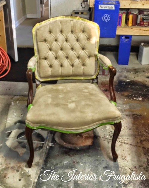 French Provincial Chair Fabric Painted - After Three Coats