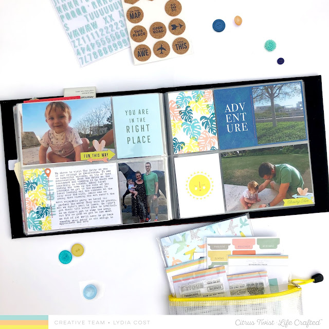 Vacation Pocket Page Spread using Citrus Twist Kits Excursions Kit - Lydia Cost