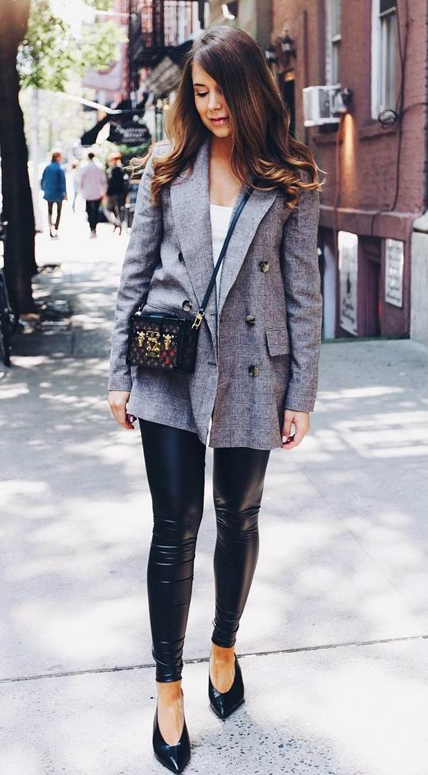 how to style a pair of leather leggings : crossbody bag + heels + blazer + top