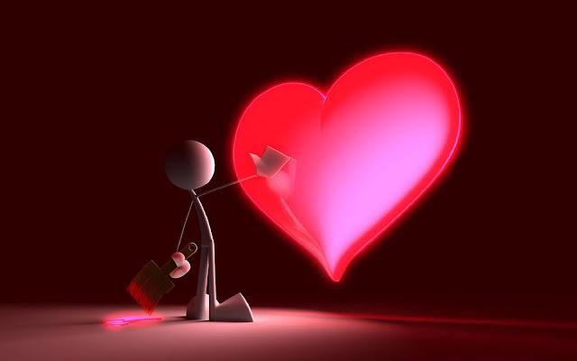 3D liefde wallpaper met een groot liefdes hart
