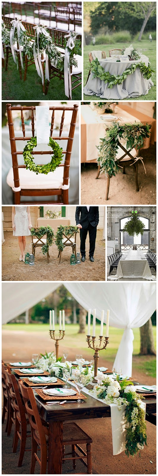 adding greenery to your table and chair decor instantly ups the chic value in your wedding or event | via Oh Lovely Day