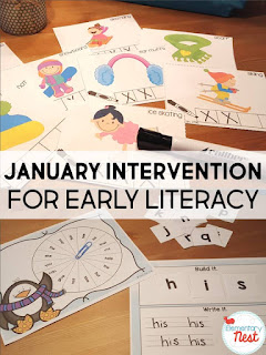 January Early Literacy Intervention plus a few FREEBIES- blog post highlighting hands-on activities for kids